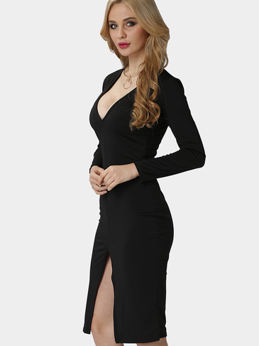 Black Plunge V-Neck Midi Dress