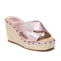 Pink Cross Front Rivet Embellished Wedge Slippers