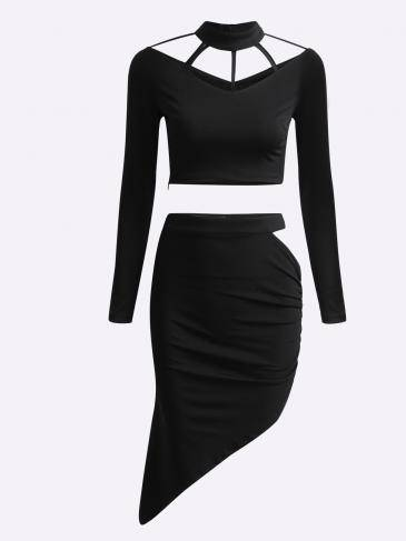 Black Long Sleeves Top and Slited Skirt Suit