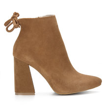 Brown Suede Lace-up Heeled Ankle Boots