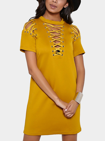 Yellow Lace-Up Shift Dress