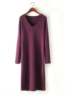 V-neck Long Sleeves Midi Dress in Burgundy