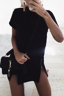 Black High Neck Zipper Detail Short Sleeves Mini Dress