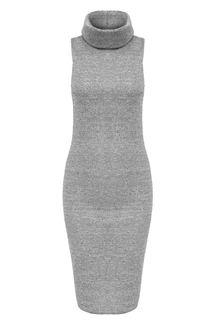 Gray Sleeveless High Neck Knit Bodycon Dress