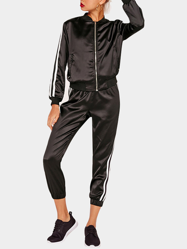 Black Long Sleeves Zip Front Top & Drawstring Waist Pants Co-ord