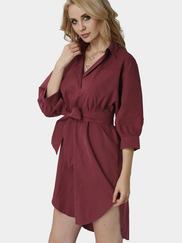 Burgundy Loose Lapel Long Sleeve Shirt Dress