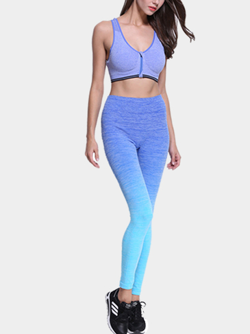 Blue Ombre Sports Crop Leggings