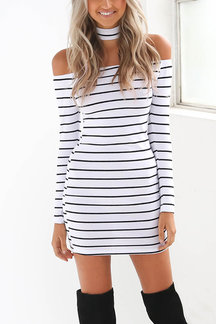 Stripe Pattern Halter Off Shoulder Halter Mini Dress