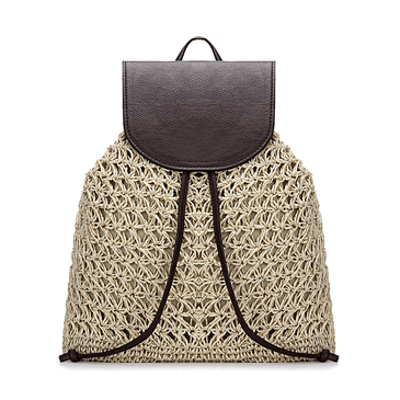 Beige Straw-Woven Lined Beach Backpack with Flap Top and Drawstring