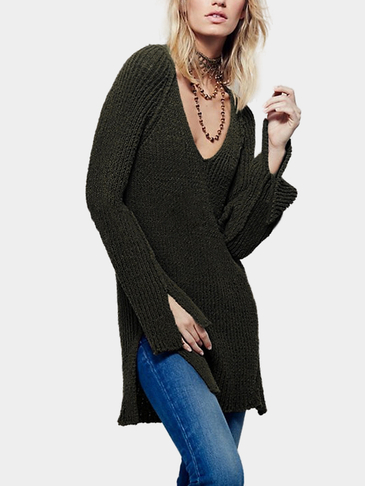 Olive Green Loose Plunge Backless Split Design Sweater