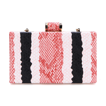 Snake Effect Clutch Bag with Gold-tone Hardware