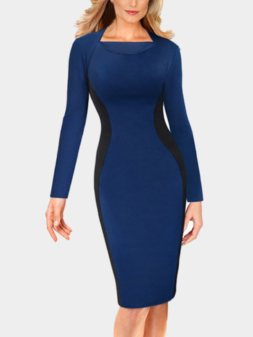 Blue Front Crease Long Sleeves Bodycon Mini Dress