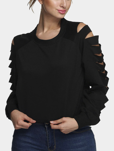Black Ripped Long Sleeve Top