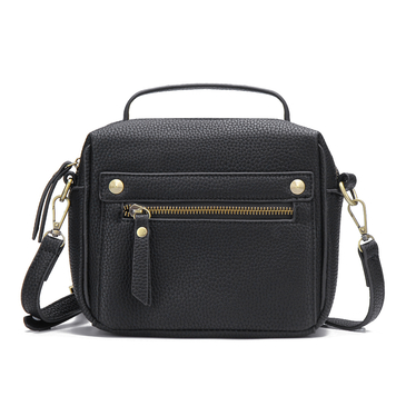 Front Zipper Pocket Shoulder Bag in Black