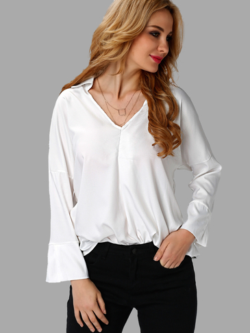 White Fashion V-neck Easy-matched Shirt