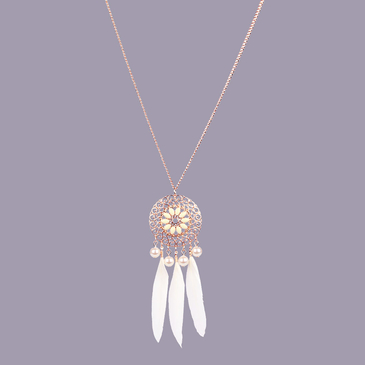 White Feather and Artificial Pearl Pendant Filagree Necklace