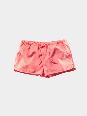 Coral Red Drawstring Waist Casual Shorts with Side Pockets