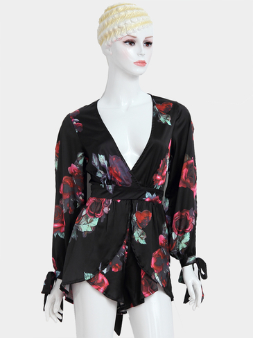 Random Floral Print Plunging Neckline Keyhole Back Splited Sleeves Playsuit