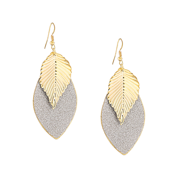 Double Colors Leaf Shape Earring Set