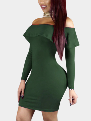 Army Green Sexy Off Shoulder Flouncy Hem Bodycon Dress