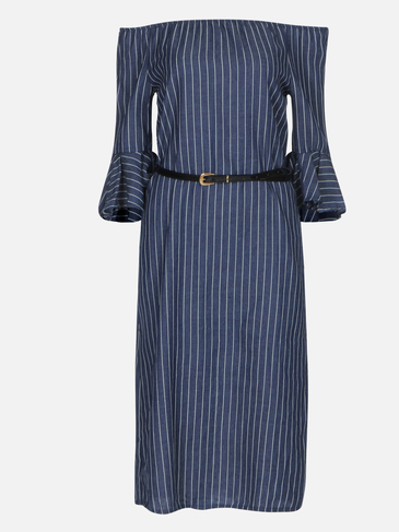 Blue Off Shoulder Striped Midi Dress with Belt