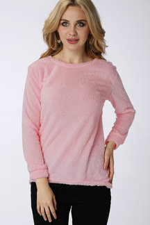 Plain Color Pink Long Sleeves Sweater Top