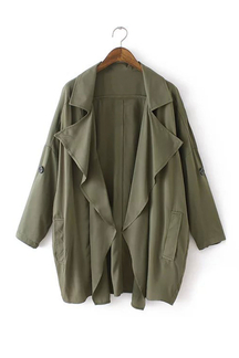 Army Green Check Out Pockets Lapel Coat
