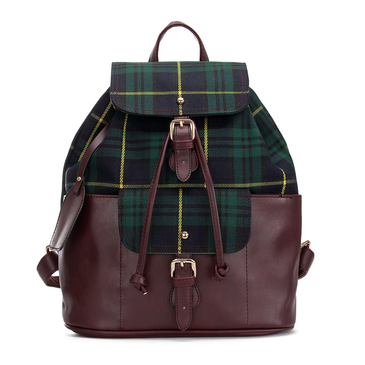 Dark Green Checked Canvas Leather-look Backpack with Drawstring