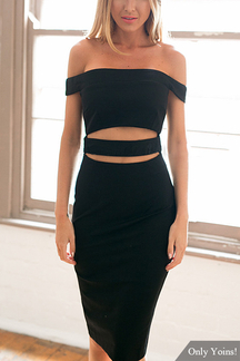 Cutout Off The Shoulder Midi Dress