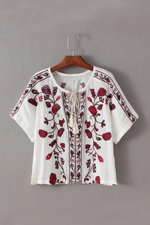 Bohemia Shorts Sleeves Shirt with Embroidery Pattern