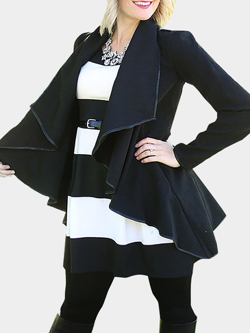 Irregular Hem Coats in Black