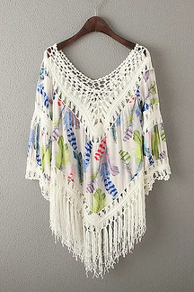 Green Floral Print Hollow Out Fringed Poncho Top