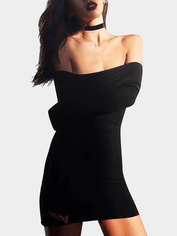 Black Off Shoulder Mini Dress with Over-layer