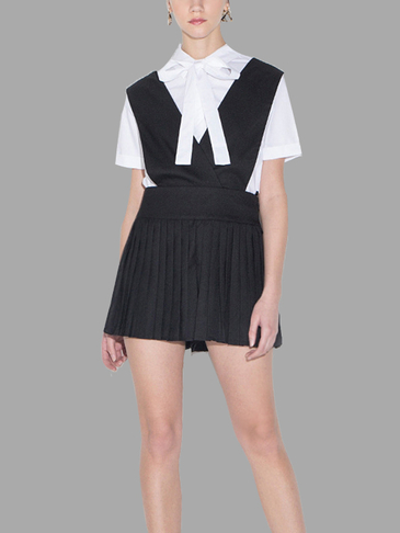 Black College Style Suspenders Mini Skirt