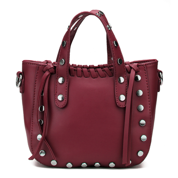 Red Rivet and Tassel Embellished Shoulder Bag