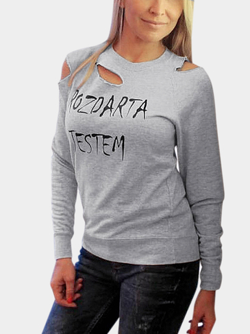 Grey Round Neck Letter Pattern Ripped Long Sleeves Sweatshirt