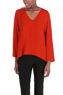 Blouse with V-neck Detail