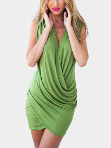 Sleeveless Wrap Front Mini Dress in Apple-green