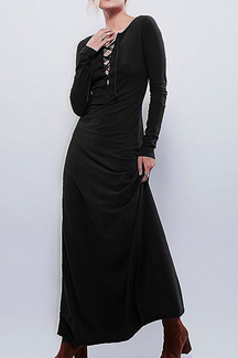 Long Sleeves Lace-up Maxi Dress