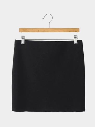 Black Curved Wrap Mini Skirt