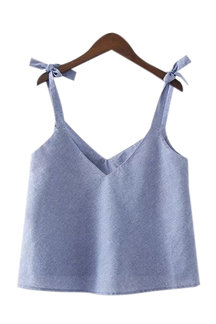 Simple Design Bow-knot V Neck Cami