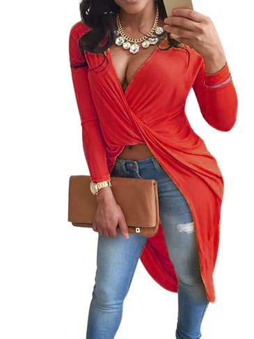 Red V-neck Cross Front Top with Step Hem