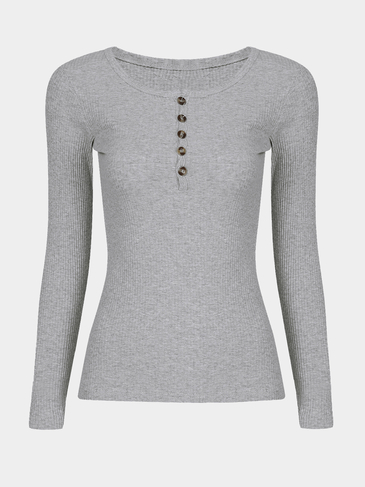 Grey Long Sleeves Button Clourse Round Neck T-shirt