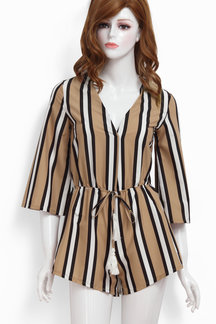 Stripe Pattern V-neck Self-tie High Waist Playsuit