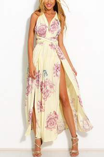 Random Floral Print Side Split Hem Maxi Dress