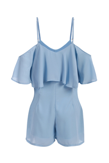 High Waist V-neck Cold Shoulder Playsuit