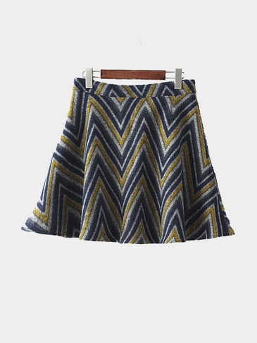 Zig Zag Artificial Woolen Mini Skirt