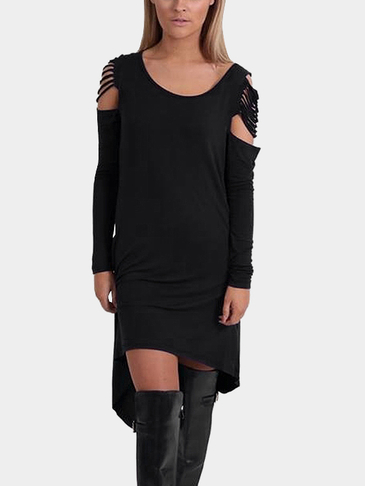 Black Round Neck Cold Shoulder Irregular Hem Casual Dress
