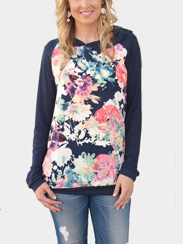 Rayol Blue Random Front Floral Print Long Sleeves Shirt