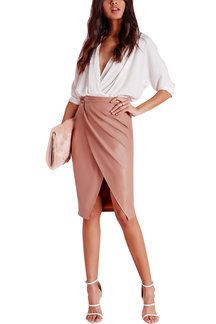 Pink Leather-look Velvet Wrap Splited Midi Skirt